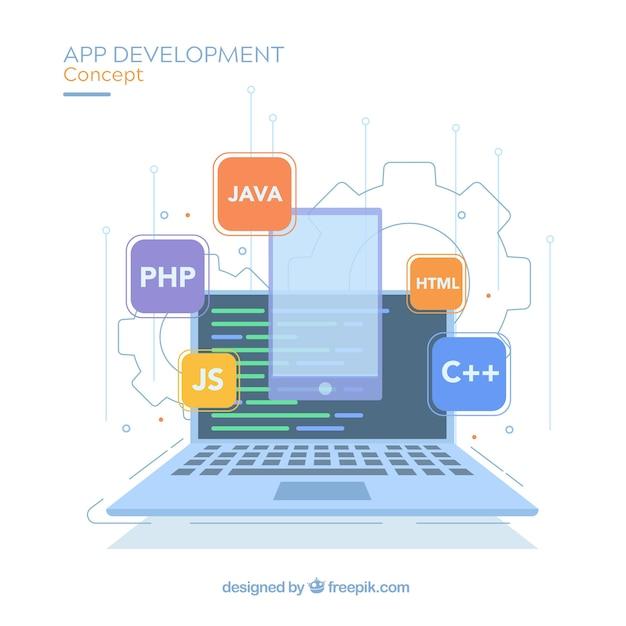 Concetto di sviluppo di app con design piatto Vettore Premium