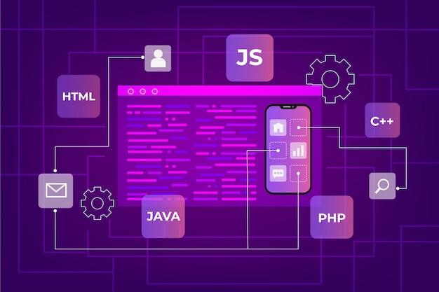 Concetto di sviluppo di app con telefono e linguaggi di codifica Vettore Premium