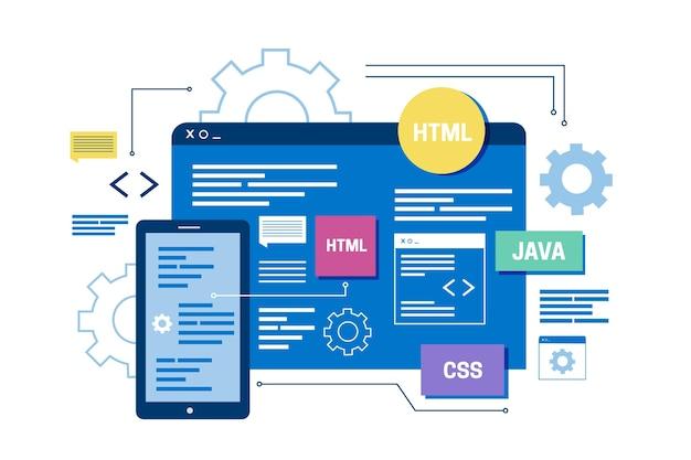 Concetto di sviluppo di app Vettore Premium