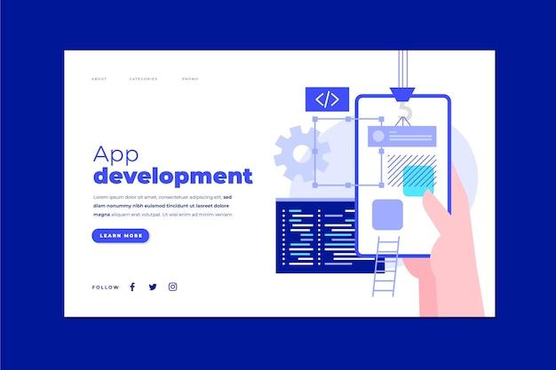 Modello di pagina di destinazione per lo sviluppo di app con il telefono in mano Vettore Premium