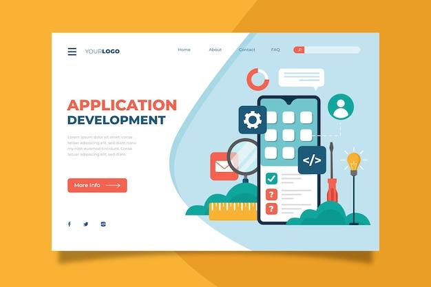 Modello di pagina di destinazione per lo sviluppo di app Vettore Premium
