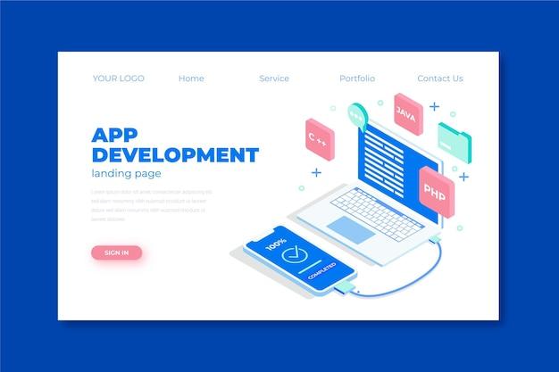 Sviluppo di app - pagina di destinazione Vettore Premium