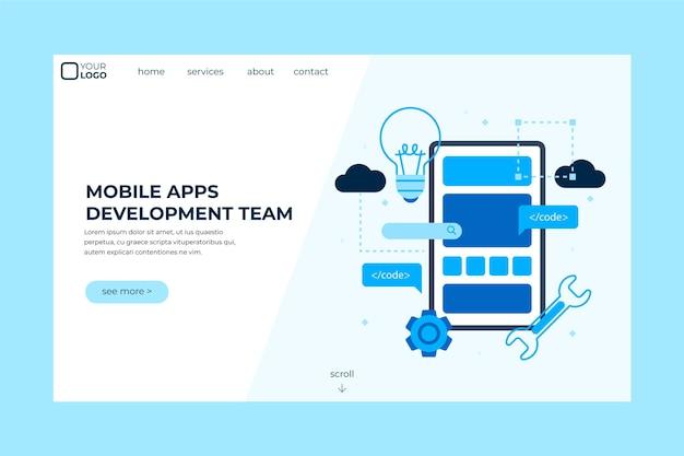 Pagina di destinazione per lo sviluppo di app Vettore Premium