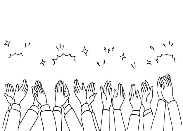 Applauso disegnare a mano, mani umane che applaudono ovazione. Vettore Premium