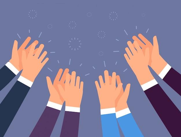Applausi. applauso di mani di persone. mani incoraggianti, ovazione e concetto di vettore di successo aziendale Vettore Premium