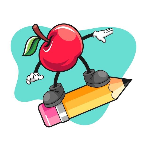 Cartone animato apple cavalcando una matita gigante Vettore Premium