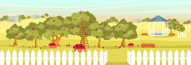 Illustrazione di colore piatto giardino di mele. paesaggio del fumetto 2d frutteto vuoto con gazebo e serre sullo sfondo. raccolta di frutta stagionale. campo serale con meli e cesti Vettore Premium