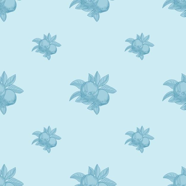 Modello senza cuciture di mele su sfondo blu. carta da parati botanica vintage. trama di frutta disegnare a mano. incisione in stile vintage. Vettore Premium