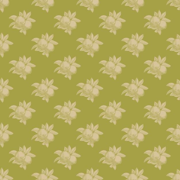 Modello senza cuciture di mele su sfondo verde. carta da parati botanica vintage. mano disegnare frutta. Vettore Premium