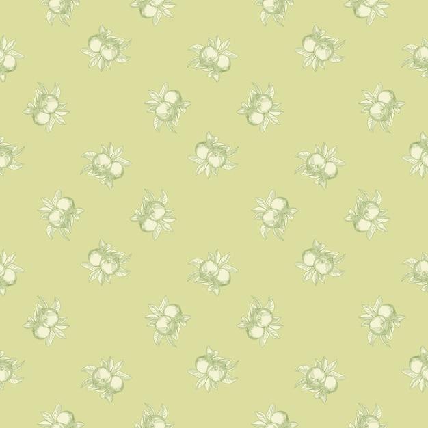 Modello senza cuciture di mele su sfondo verde. carta da parati botanica vintage. Vettore Premium