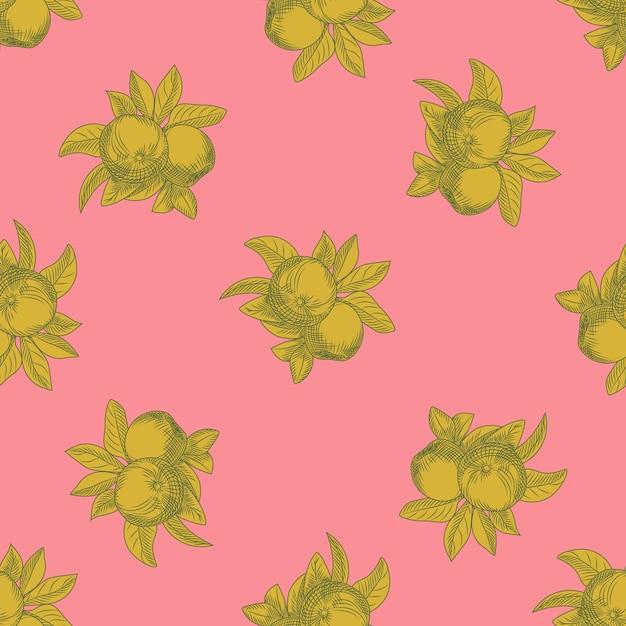 Modello senza cuciture di mele su sfondo rosa. carta da parati botanica vintage. trama di frutta disegnare a mano. incisione in stile vintage. Vettore Premium