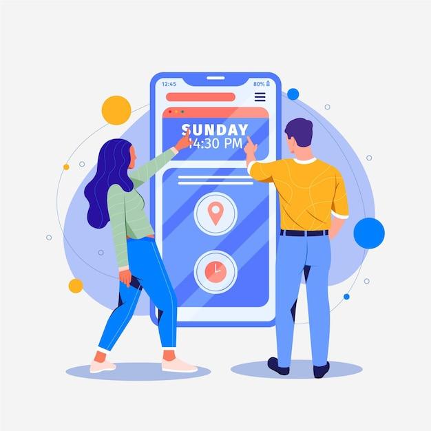 Concetto di interfaccia mobile prenotazione appuntamento Vettore Premium
