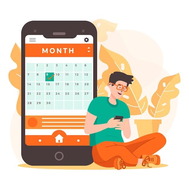 Prenotazione appuntamento con smartphone e uomo Vettore Premium