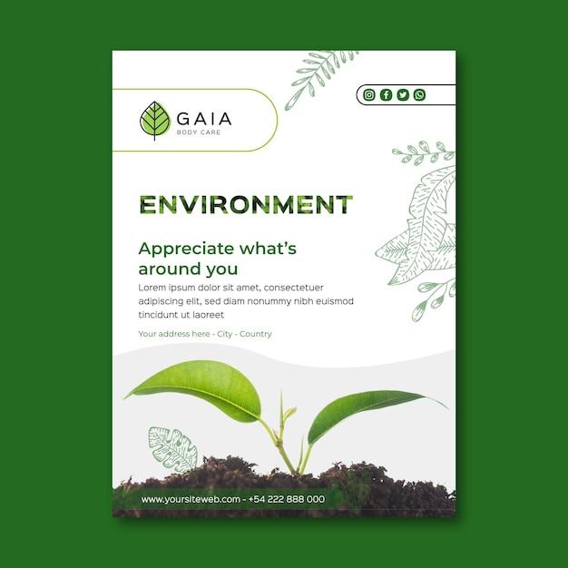 Apprezza il modello di volantino per l'ambiente naturale Vettore Premium