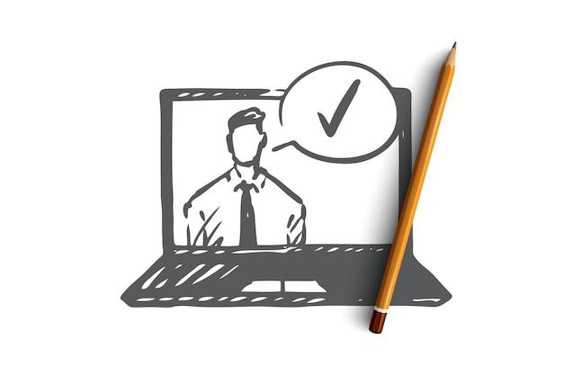 Concetto approvato e accettato. uomo d'affari sullo schermo del computer portatile e marchio di approvazione. illustrazione di schizzo disegnato a mano Vettore Premium