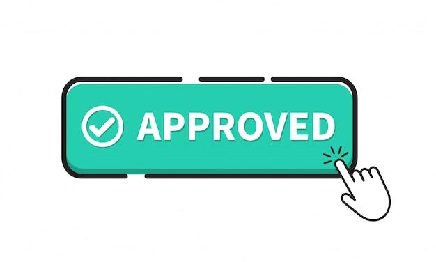 Icona del pulsante approvata. Vettore Premium