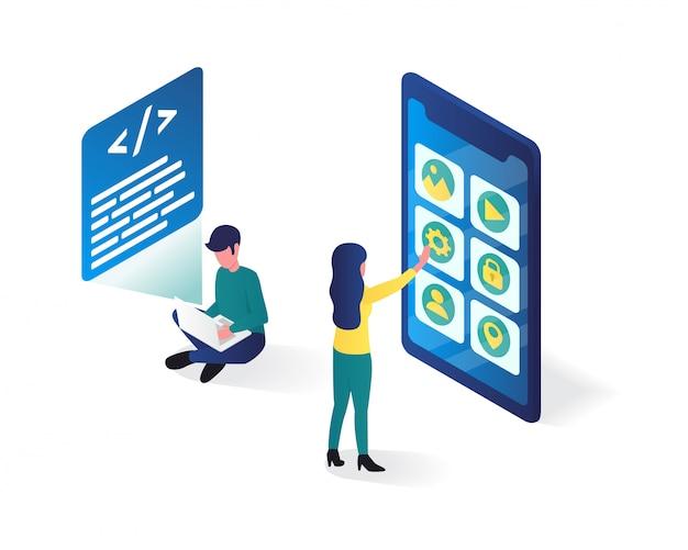 Illustrazione isometrica di sviluppo di app, illustrazione isometrica utente di app Vettore Premium
