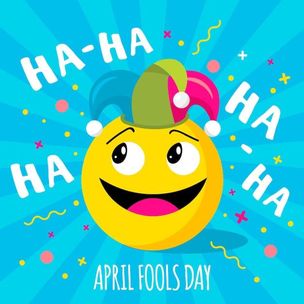 Pesce d'aprile con emoji Vettore Premium