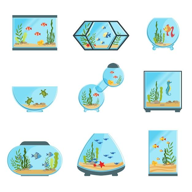 Set di carri armati dell'acquario, diversi tipi di acquari con piante e pesci illustrazioni dettagliate su sfondo bianco Vettore Premium