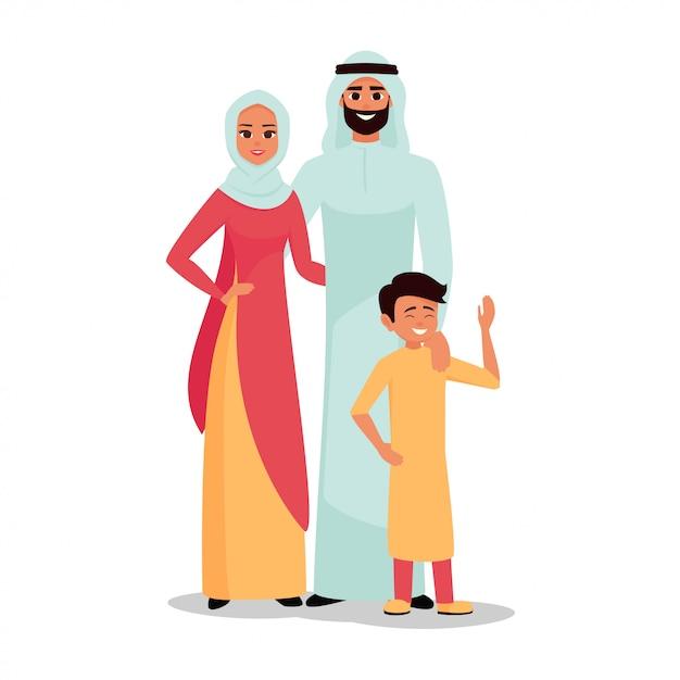 Famiglia araba padre, madre e figlio insieme Vettore Premium