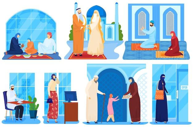 Famiglia araba musulmana o persone saudite asiatiche in panni islamici tradizionali insieme di illustrazioni. Vettore Premium