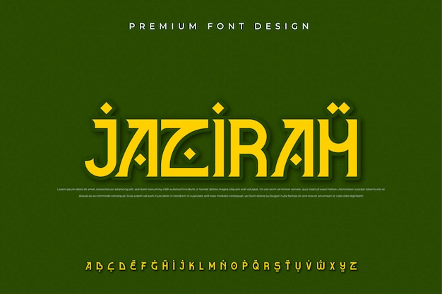 Carattere arabo moderno alfabeto Vettore Premium