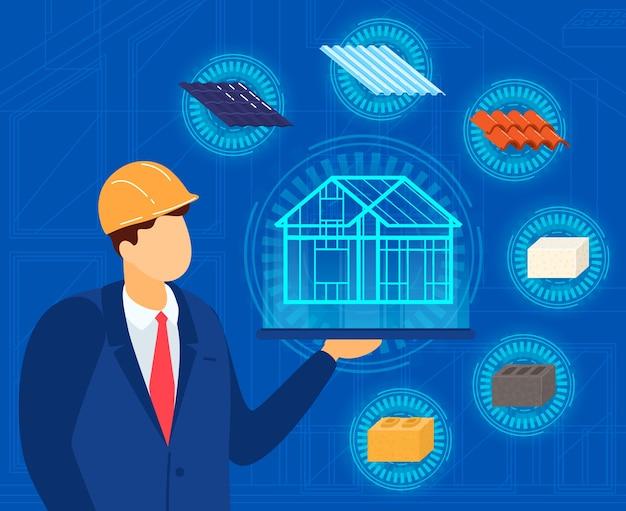 Ingegnere architetto con illustrazione del progetto di casa. Vettore Premium