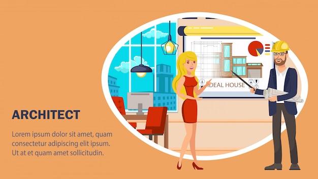 Modello di vettore di banner sito web architetto. Vettore Premium