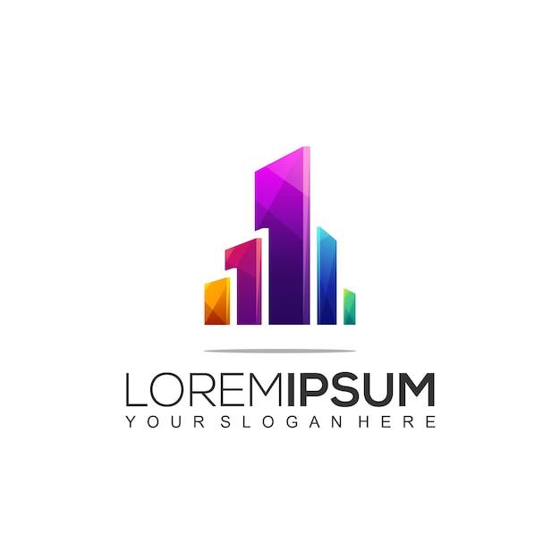 Modello di disegno del logo dell'edificio architettonico Vettore Premium