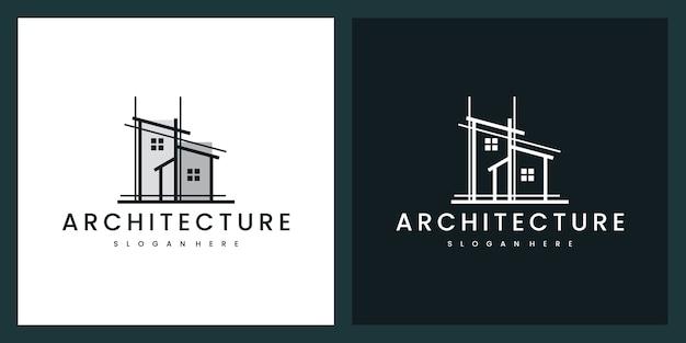 Edificio architettonico con stile artistico al tratto, ispirazione per il design del logo Vettore Premium