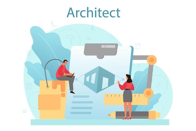 Concetto di architettura. idea di progetto di costruzione e lavori di costruzione. Vettore Premium