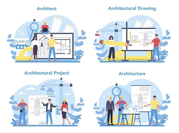 Insieme del concetto di architettura. idea di progetto di costruzione e lavori di costruzione. schema di casa, industria dell'ingegnere. attività di società di costruzioni. Vettore Premium