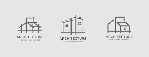 Architettura logo template vettoriale Vettore Premium
