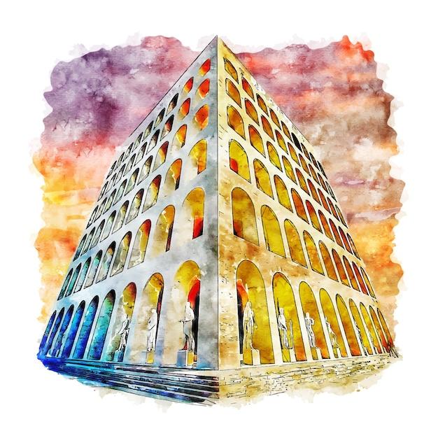 Illustrazione disegnata a mano di schizzo dell'acquerello di roma italia di architettura Vettore Premium