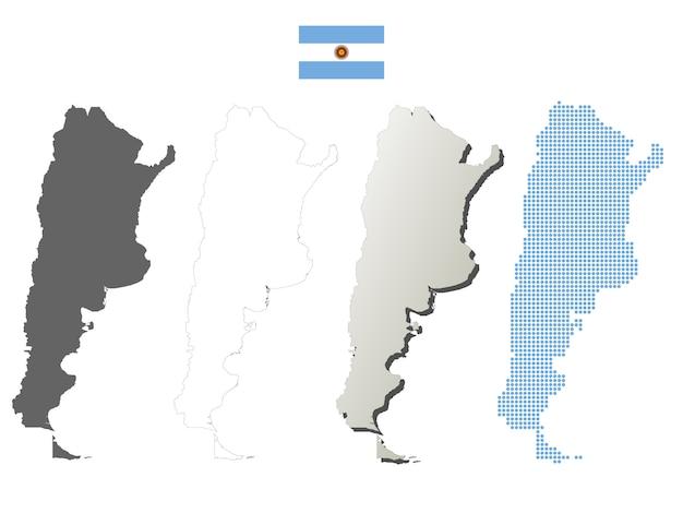 Insieme di mappa di contorno vettoriale argentina Vettore Premium