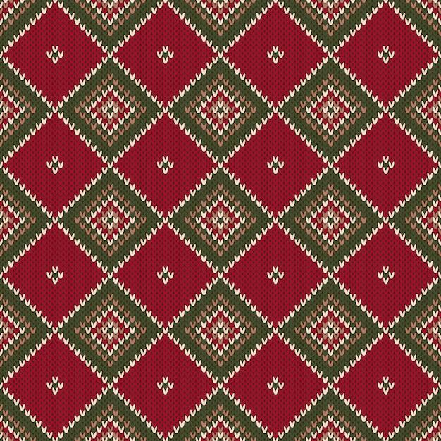 Motivo a maglia senza cuciture astratto di argyle. design maglione lavorato a maglia di natale. imitazione di texture in maglia di lana. Vettore Premium