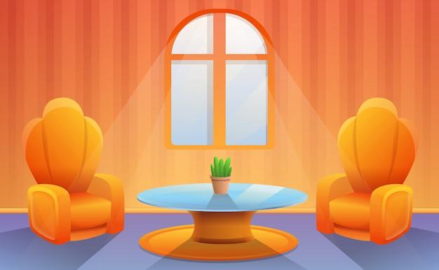 Poltrona con tv nella stanza dei cartoni animati. illustrazione vettoriale Vettore Premium
