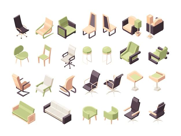 Poltrone isometriche. mobili per ufficio moderno basso poli sedie collezione oggetti Vettore Premium