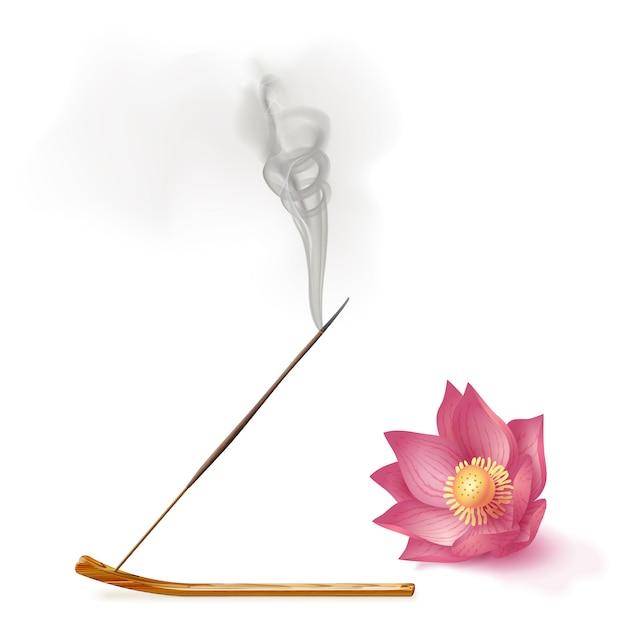 L'aroma di canna da fumo si attacca al supporto, l'aromaterapia al loto Vettore Premium