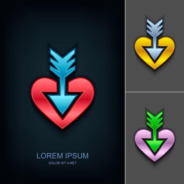 Freccia nel modello di progettazione del logo del cuore Vettore Premium