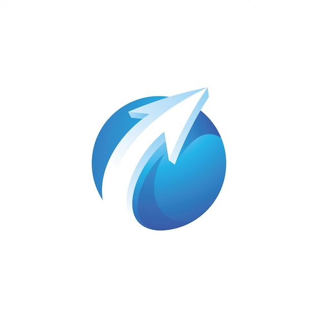Logo cerchio freccia e sfera Vettore Premium