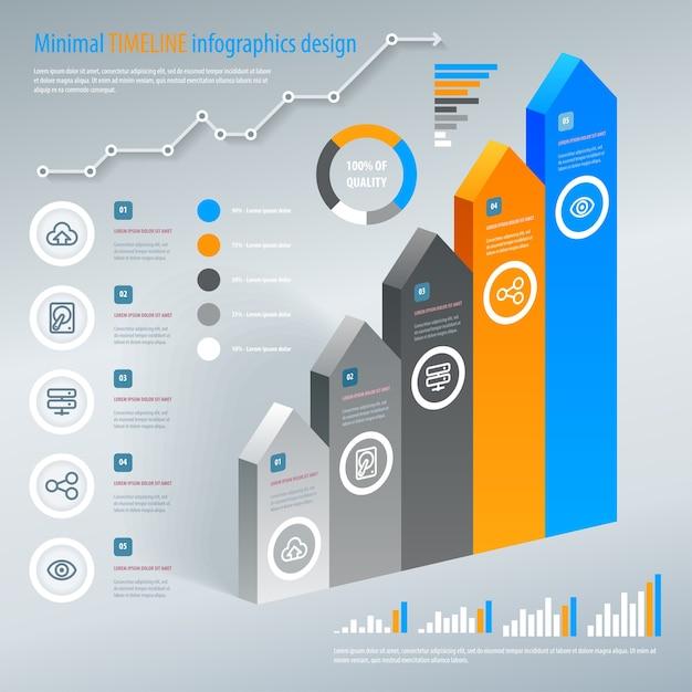 Infografica scala freccia. . può essere utilizzato per layout del flusso di lavoro, banner, opzioni di numero, opzioni di aumento, web design, infografiche. Vettore Premium