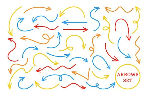 Frecce luminoso rosso blu, giallo infografica linea impostata. cursore di varie forme di freccia irregolari artistiche curve e arcuate Vettore Premium