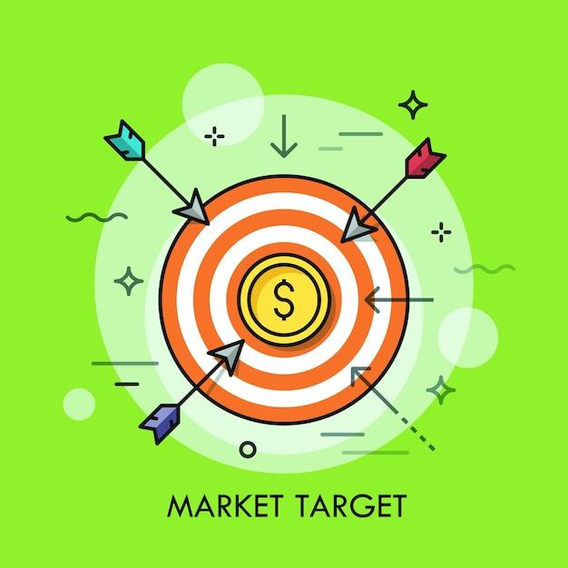 Frecce che volano verso il bersaglio di tiro con moneta da un dollaro al centro. Vettore Premium