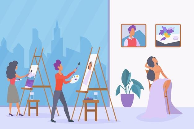Corso d'arte, lezione di pittura ad olio e acrilico, schizzi di artisti, disegno modello donna su tela Vettore Premium