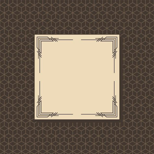 Illustrazione di design del telaio art deco Vettore Premium