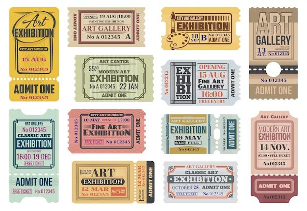 Galleria d'arte, biglietti per la mostra, ammette all'evento Vettore Premium