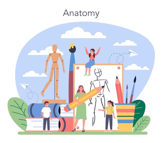 Educazione alla scuola d'arte. studente in possesso di un pennello e vernici. artista che impara i bambini a disegnare. lezione di pittura di anatomia. Vettore Premium