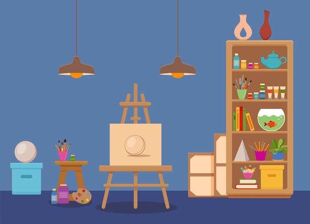 Illustrazione variopinta interna dello studio di arte. stanza del laboratorio dell'artista del pittore con strumenti: tela, cavalletto con schizzo di sfera, colori, tavolozza, pennelli, lampada, mensole con strumenti, libri, matite, piante Vettore Premium