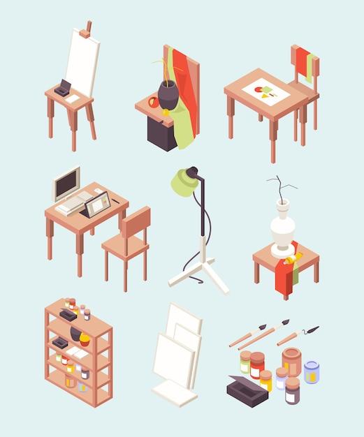 Studio d'arte. articoli per artisti dipinge pennelli con cavalletti strumenti di lavoro per designer collezione isometrica. studio d'arte con cavalletto e pennello per l'illustrazione di hobby Vettore Premium